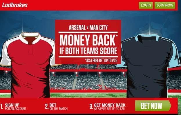 Arsenal vs Manchester City Free Bet Offers!