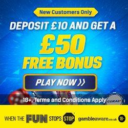 Coral Casino £50 Welcome Bonus Code