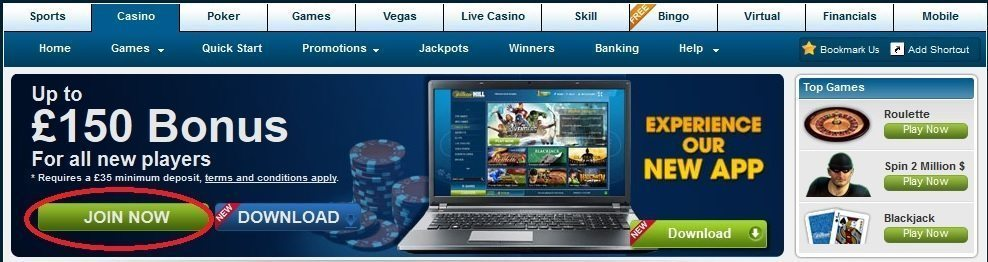 online casino william hill - get your £150 casino bonus
