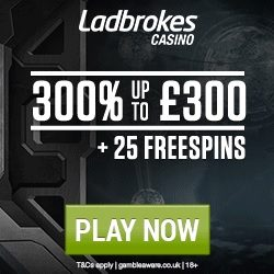 Ladbrokes Casino Promo Codes for £300 + 25 Free Spins