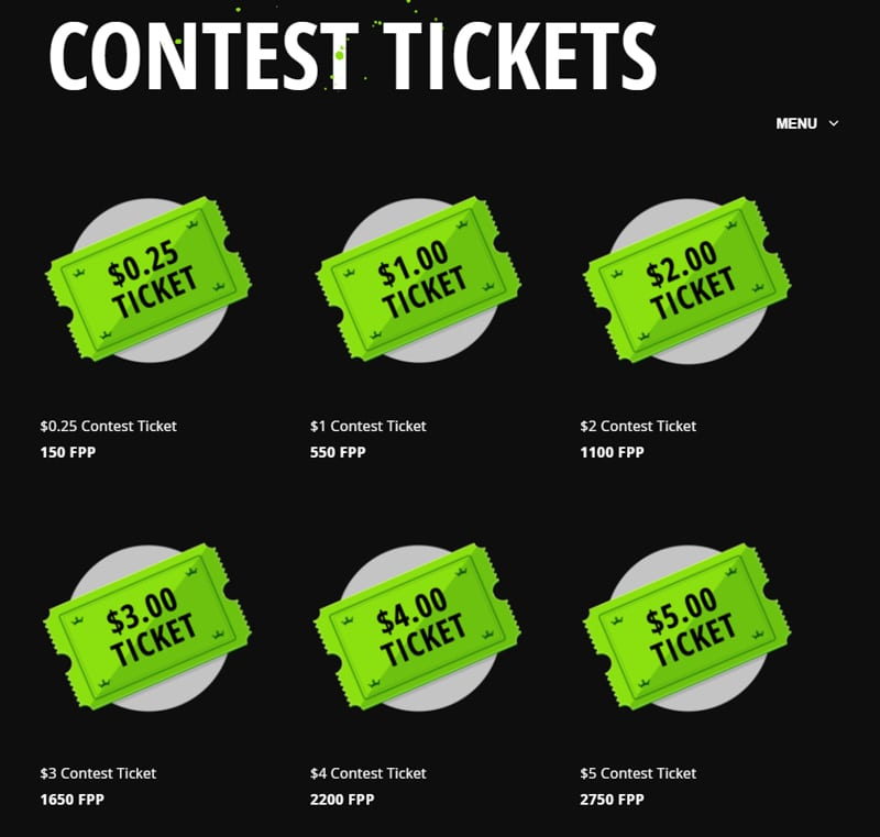 Purchase contest tickets with FPPs