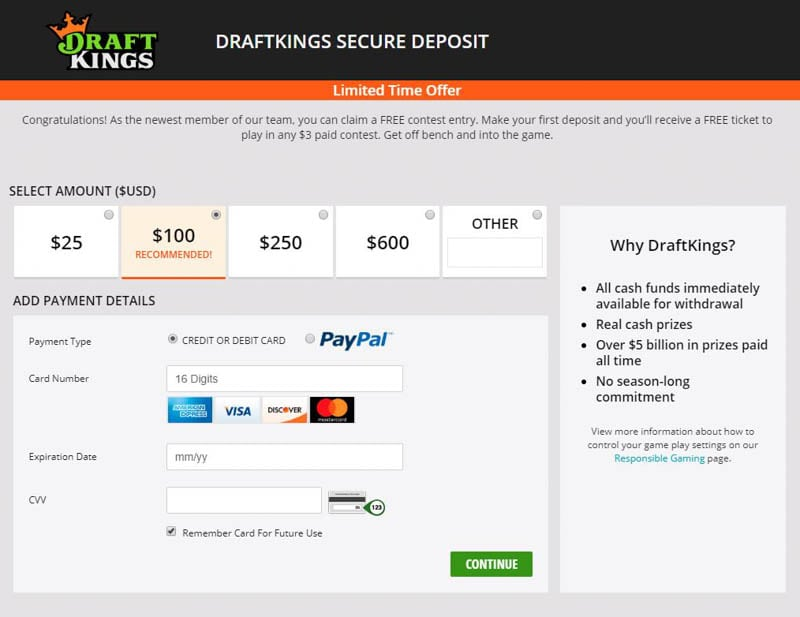Depositing into your DraftKings' Account