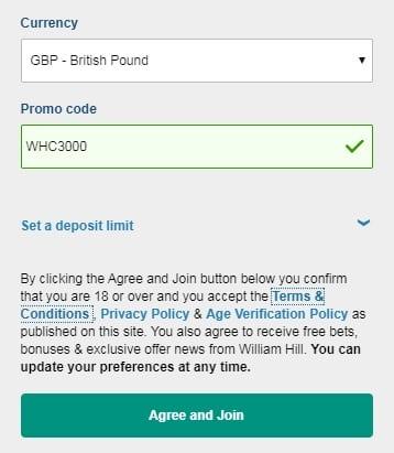 William Hill Casino Promo Code WHC3000 for £400 in Bonuses