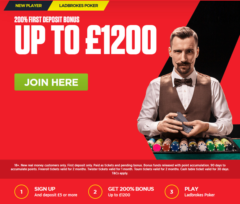 Ladbrokes Poker Bonus - Deposit Gets a 200% Bonus
