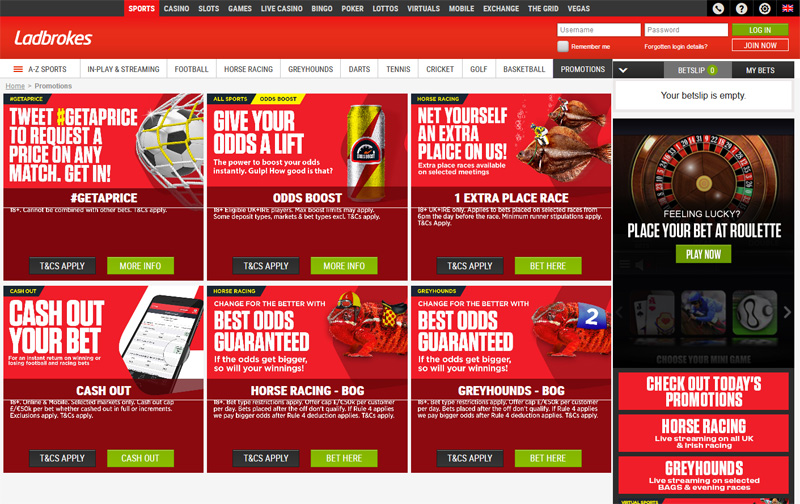 Ladbrokes Sports Latest Promotions