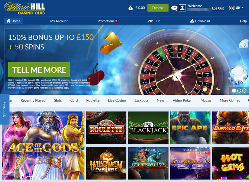 William Hill Casino Club Log In and Opt In