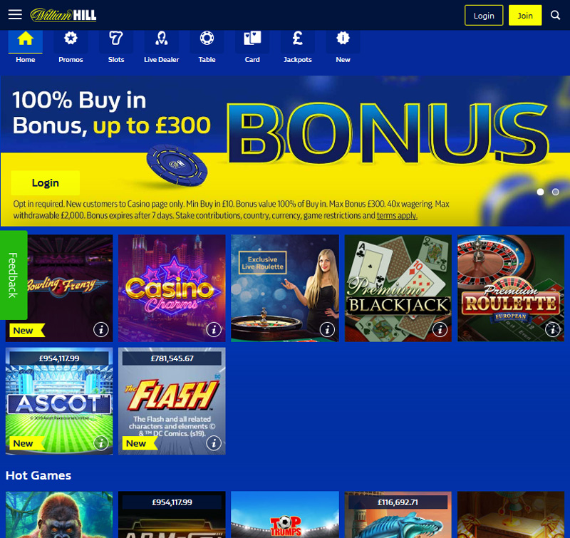 William Hill Casino Begin Playing Games